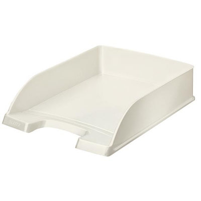Bright Letter Tray Stackable Glossy White Pearl