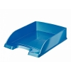 Bright Letter Tray Stackable Glossy Metallic Blue
