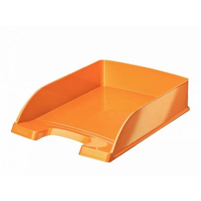 Bright Letter Tray Stackable Glossy Metallic Orange