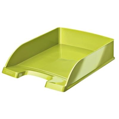 Bright Letter Tray Stackable Glossy Metallic Green