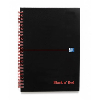 Black n Red Book Wirebound Smart Ruled and Perforated 90gsm 140pp A5 Matt Black Ref 100080192 [Pack 5]