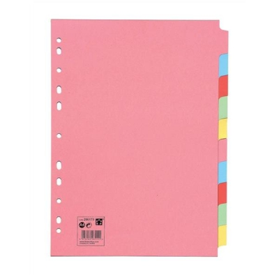 5 Star Subject Dividers Multipunched Manilla Board 10-Part A4 Assorted