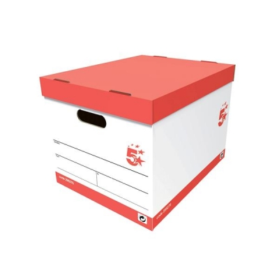 5 Star Storage Box for 5 A4 Lever Arch Files Red & White [Pack 10]