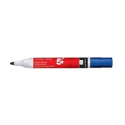 5 Star Drywipe Marker Xylene/Toluene-Free Bullet Tip 3mm Line Blue [Pack 12]