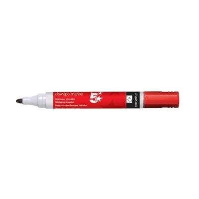 5 Star Drywipe Marker Xylene/Toluene-Free Bullet Tip 3mm Line Red [Pack 12]
