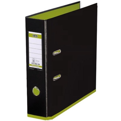 Elba MyColour Lever Arch File Polypropylene Capacity 80mm A4 Black and Lime Ref 100081036