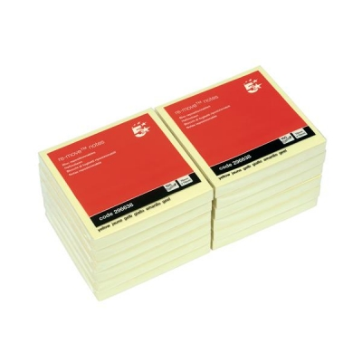 5 Star Re-Move Notes Repositionable Pad of 100 Sheets 76x76mm Yellow [Pack 12]