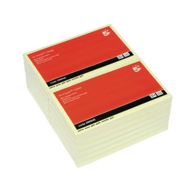5 Star Re-Move Notes Repositionable Pad of 100 Sheets 75x127mm Yellow [Pack 12]