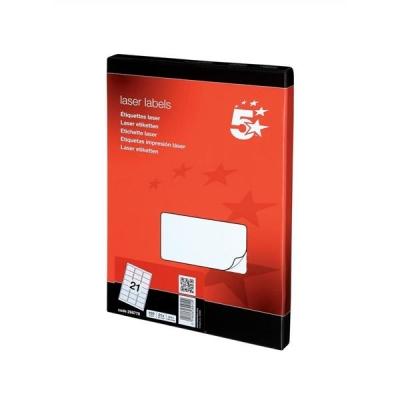 5 Star Multipurpose Labels Laser 21 per Sheet 63.5x38.1mm White [2100 Labels]