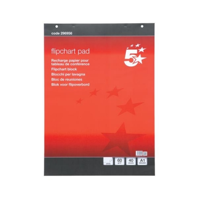 5 Star Flipchart Pad Perforated 40 Sheets A1 Plain [Pack 5]