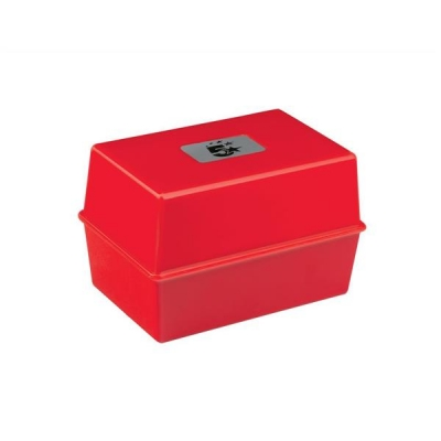 5 Star Card Index Box Capacity 250 Cards 5x3in 127x76mm Red