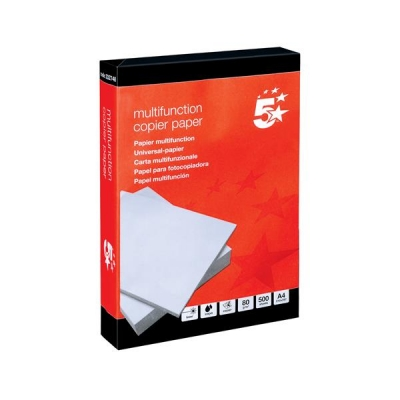 5 Star Copier Paper Multifunctional Ream-Wrapped 80gsm A4 White [5 x 500 Sheets]