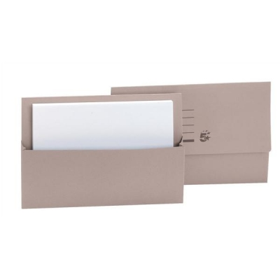 5 Star Document Wallet Half Flap 250gsm Capacity 32mm Foolscap Buff [Pack 50]
