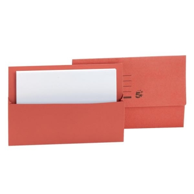 5 Star Document Wallet Half Flap 250gsm Capacity 32mm Foolscap Red [Pack 50]