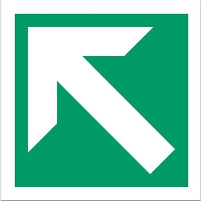 Stewart Superior Fire Exit Sign Arrow Diagonal and Straight 150x150mm Self-adhesive Vinyl Ref NS009