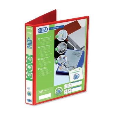 Elba Panorama Presentation Ring Binder PVC 4 D-Ring 25mm Capacity A4 Red Ref 400008506 [Pack 6]