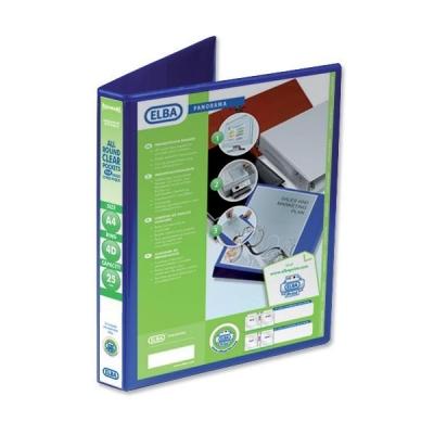 Elba Panorama Presentation Ring Binder PVC 4 D-Ring 25mm Capacity A4 Blue Ref 400008415 [Pack 6]