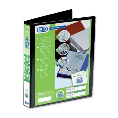 Elba Panorama Presentation Ring Binder PVC 4 D-Ring 25mm Capacity A4 Black Ref 400008414 [Pack 6]