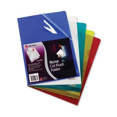Rexel Nyrex Folder Cut Flush A4 Blue Ref 12161BU [Pack 25]