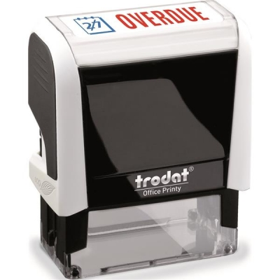 Trodat Office Printy Stamp Self-inking Overdue 18x46mm Reinkable Red and Blue Ref 43208