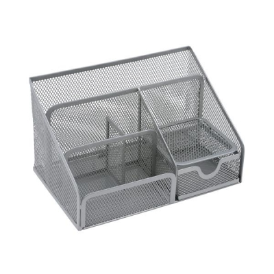 Desk Organiser Mesh Scratch Resistant with Non Marking Rubber Pads Silver