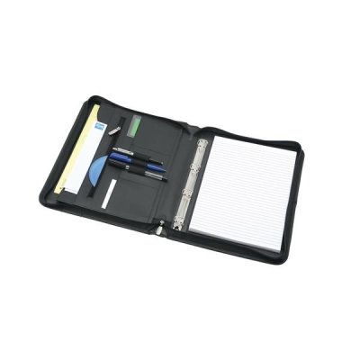 5 Star Organiser with Detachable Ring Binder Leather Zipped 4 Ring Capacity 20mm A4 Black