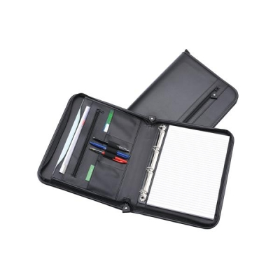 5 Star Zipped Folder with Ring Binder 4 Ring Capacity 20mm A4 Leather Look Black