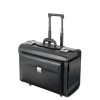 Alassio Silvana Trolley Pilot Case Leather Laptop Compartment 2 Combination Locks Black Ref 92705
