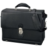 Alassio Monza Briefcase Extendable with Laptop Compartment Shoulder Strap Leather Black Ref 47127