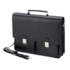 Alassio Vento Laptop Briefcase with Organiser Shoulder Strap for 15.4in Leather Black Ref 47117