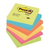 Post-it Colour Notes Pad of 100 Sheets 76x76mm Energetic Palette Rainbow Colours Ref 654TF [Pack 6]