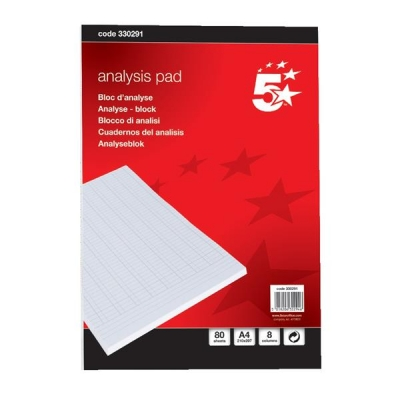 5 Star Analysis Pad Ruled 70gsm 8 Cash Column 80 Leaf A4