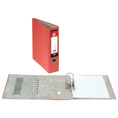 5 Star Lever Arch File 70mm Spine Foolscap Red [Pack 10]