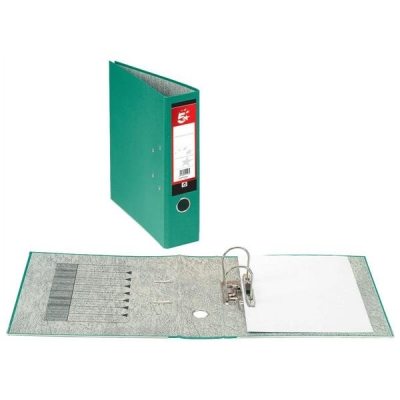 5 Star Lever Arch File 70mm Spine Foolscap Green [Pack 10]