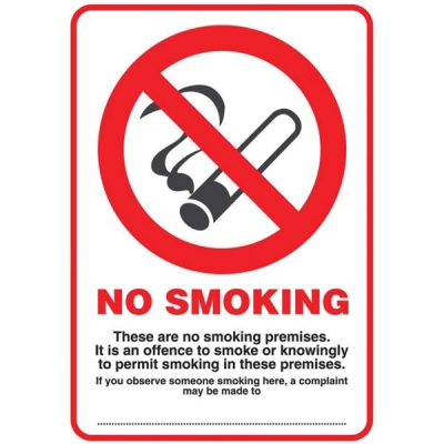 No Smoking Compliant Sign PVC A4 Ref SCP002PP