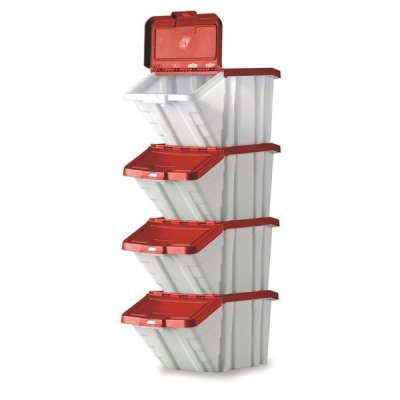 Storage Container Bin 50L 30kg Load W390xD630xH340mm White and Red Lid [Pack 4]