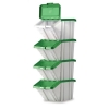 Storage Container Bin 50L 30kg Load W390xD630xH340mm White and Green Lid [Pack 4]
