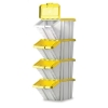 Storage Container Bin 50L 30kg Load W390xD630xH340mm White and Yellow Lid [Pack 4]