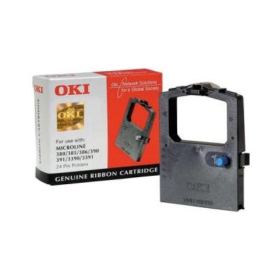 OKI Ribbon Cassette Fabric Nylon Black [for 300 Series-24 PIN-380-385 6-390 1-3390] Ref 09002309