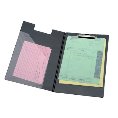 5 Star Clipboard Fold Over Executive PVC Finish with Pocket Foolscap Black
