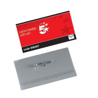 5 Star Name Badges Landscape with Pin 40x75mm [Pack 100]