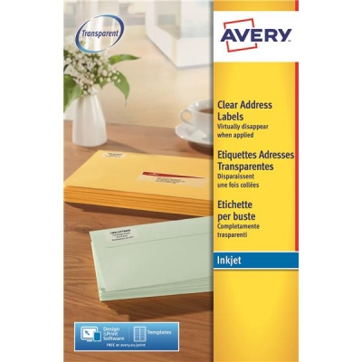 Avery Clear Addressing Labels 14 per Sheet 99.1x38.1mm Ref J8563-25 [350 Labels]