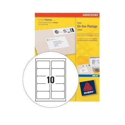 Avery Smartstamp Labels Inkjet Logo 10 per Sheet 135x38mm Ref J5103-25 [250 Labels]