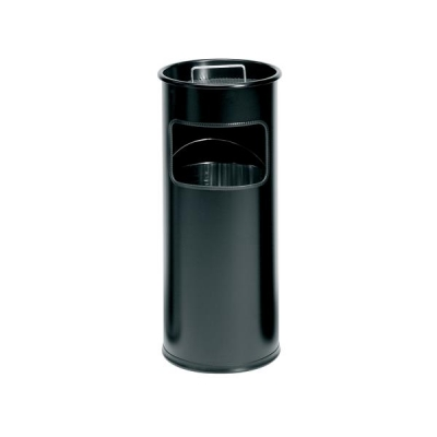 Durable Ashtray Waste Bin with 1.5 Kilos of Silver Sand 17 Litre Black Ref 3330/01