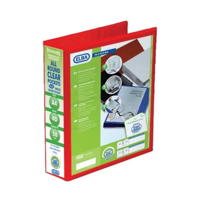 Elba Panorama Presentation Ring Binder PVC 4 D-Ring 50mm Capacity A4 Red Ref 400008432 [Pack 4]