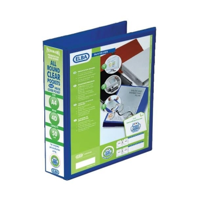 Elba Panorama Presentation Ring Binder PVC 4 D-Ring 50mm Capacity A4 Blue Ref 400008431 [Pack 4]