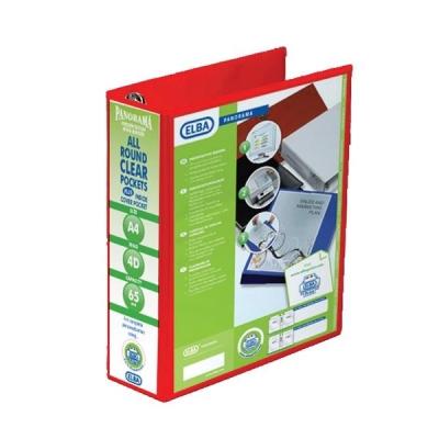 Elba Panorama Presentation Ring Binder PVC 4 D-Ring 65mm Capacity A4 Red Ref 400008674 [Pack 4]