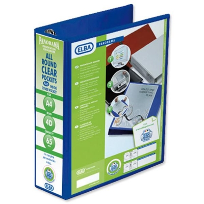 Elba Panorama Presentation Ring Binder PVC 4 D-Ring 65mm Capacity A4 Blue Ref 400008675 [Pack 4]