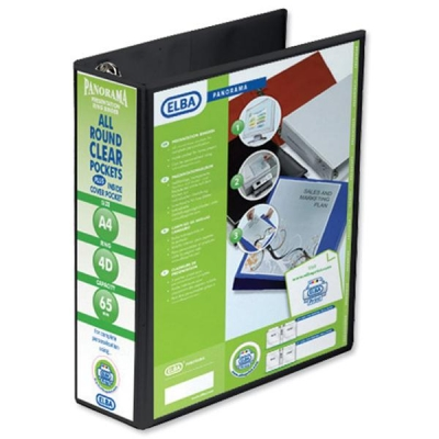 Elba Panorama Presentation Ring Binder PVC 4 D-Ring 65mm Capacity A4 Black Ref 400008442 [Pack 4]