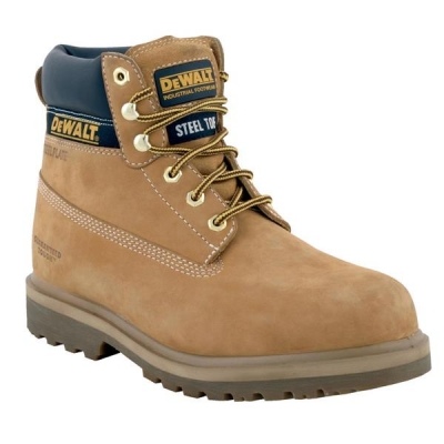 Dewalt Safety Boots 6 inch Nubuck Steel-midsole Chemical-resistant Size 7 Wheat Ref Explorer 7
